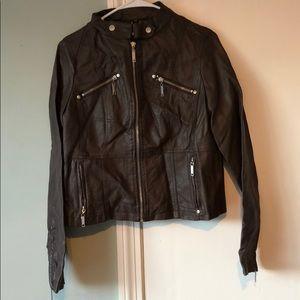 Jackets & Blazers - Dark Brown 'pleather' Moto jacket
